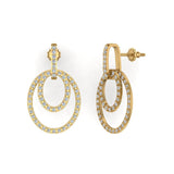 Intertwined Circles Loop Diamond Chandelier Earrings 18K Gold 1.53 ctw(G,VS) - Yellow Gold