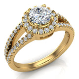 Split Shank Halo Diamond Ring 1.20 ctw Engagement Ring 14k Gold (G,VS) - Yellow Gold