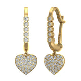 Heart Diamond Dangle Earrings Dainty Drop Style 14K Gold 0.75 ctw (G,SI) - Yellow Gold