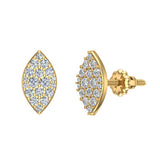 Exquisite Marquise Pave Diamond Stud Earrings 1/2 ctw 18K Gold (G,VS) - Yellow Gold