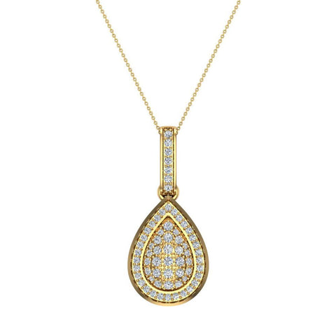 1.00 ct tw Pear Drop-Shape Diamond Necklace 18K Gold (G,VS) - Yellow Gold