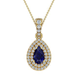 Pear Cut Sapphire Double Halo Diamond Necklace 14K Gold (G,I1) - Yellow Gold