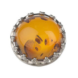 Artisan Crafted Sterling Bold Baltic Amber Royal Domed Ring