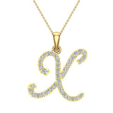 Initial Necklace X Letter charms Diamond pendant necklace 18K Gold (G,VS) - Yellow Gold