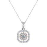 Princess Cut Diamond Cut Cornered Halo 2 tone Necklace 14K Gold (I,I1) - Rose Gold