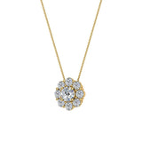 Round Diamond Halo Pendant 14K Gold (G,I1) - Yellow Gold