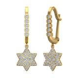 Star of David Diamond Dangle Earrings Dainty Drop Style 14K Gold 0.83 ctw (G,SI) - Yellow Gold