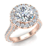 Moissanite Engagement rings 14K Gold Halo Rings for women 4.30 carat (I,I1) - Rose Gold
