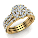 0.86 carat total weight Flower cluster Diamond Wedding Ring w/ Enhancer Bands Bridal set 14K Gold (I,I1) - Yellow Gold