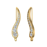 Pave Set Vines Ear Climber Earrings 14k Gold (G,SI) - Yellow Gold