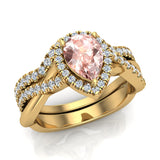 Pear cut Pink Morganite Criss Cross Diamond Halo Wedding Ring Set 14K Gold (I,I1) - Yellow Gold