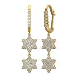 Star of David Diamond Dangle Earrings Dainty Drop Style 14K Gold 1.31 ctw (G,SI) - Yellow Gold