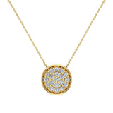 18K Gold Necklace Button Dainty Button Style Pendant 0.50 ctw (G,VS) - Yellow Gold