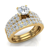 Two Row Solitaire Diamond Engagement Ring Set 14K Gold (G,SI) - Yellow Gold
