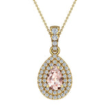 Pear Cut Pink Morganite Double Halo Diamond Necklace 14K Gold (I,I1) - Yellow Gold