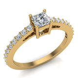 Classic Style Petite Princess Cut Diamond Promise Ring 14K Gold 0.55 Ctw (I,I1) - Yellow Gold