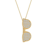 Sunglasses Diamond Charm Necklace 14K Gold 1.25 ctw (I,I1) - Yellow Gold