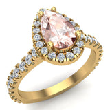 Pear Cut Pink Morganite Halo Engagement Ring 14K Gold (I,I1) - Yellow Gold