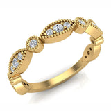 Stacking Circle & Marquee Designer Milgrain Diamond Wedding Band 0.28 Ctw 18K solid Gold (G,SI) - Yellow Gold