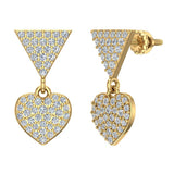 Heart Diamond Dangle Earrings 14K Gold (G,SI) - Yellow Gold