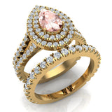 Pear Cut Pink Morganite Double Halo Wedding Ring Set 18K Gold (G,VS) - Yellow Gold