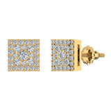 Sharp & Edgy Square Cluster Diamond Earrings 0.53 ctw 18K Gold (G,VS) - Yellow Gold
