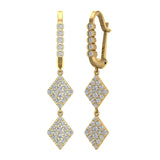 Kite Diamond Dangle Earrings Dainty Drop Style 18K Gold 1.14 ctw (G,VS) - Yellow Gold