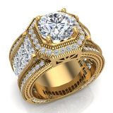 Large  Moissanite Engagement Ring 14K Gold Halo Rings for women 8.00 mm 6.85 carat (G,SI) - Yellow Gold