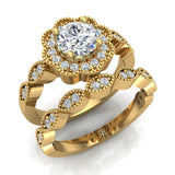 Classic Round Diamond Floral Halo Setting with Milgrain Marquee Shank Wedding Ring Set 1.42 ctw 14K Gold (G,I1) - Yellow Gold