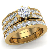 Diamond Wedding Ring Set for Women Round Brilliant Center Diamond Engagement Ring with enhancer wedding bands 14K Gold (G,VS) - Yellow Gold