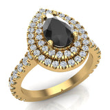 Pear Cut Black Diamond Double Halo Engagement Ring 14K Gold (I,I1) - Yellow Gold
