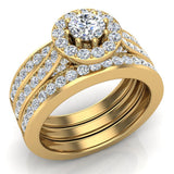 Exquisite 8 prong setting Round Cut Halo Wedding Ring Set w/ Enhancer Bands 14K Gold (G,SI) - Yellow Gold