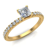 Petite Engagement rings for women Princess Cut diamond ring 18K Gold 0.65 carat (G,SI) - Yellow Gold