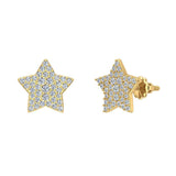 Star Shape Diamond Cluster Stud Earrings 0.50 ctw 18K Gold (G,VS) - Yellow Gold