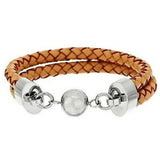 Stainless Steel Double Row Leather Bracelet