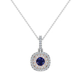 Round Cut Blue Sapphire Cushion Double Halo 2 tone necklace 14K Gold (G,I1) - Rose Gold