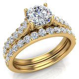 Wedding Ring set for women 5.60 mm Round Cut Solitaire 1.41 Carat Total Weight 14K Gold - GIA Certificate (G, SI) - Yellow Gold