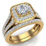 Round Cut Diamond Cushion Halo Split Shank Ring Set 14K Gold (G,VS2) - Yellow Gold