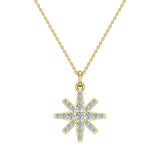 Starburst Charm Necklace Dainty 14K Gold 0.24 ctw (G,I1) - Yellow Gold
