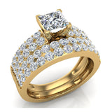 Two Row Princess Solitaire Diamond Engagement Ring Set 18K Gold (G,VS) - Yellow Gold