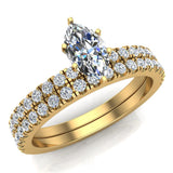 Petite Wedding Rings for women Marquise Cut Bridal set 18K Gold 0.90 carat (G, SI) - Yellow Gold