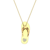 Flip Flop Sandals Diamond Charm Necklace 14K Solid Gold 0.04 ctw (I,I1) - Yellow Gold