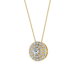 Round Double Halo Diamond Necklace 14K Gold (G,SI) - Yellow Gold