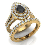Pear Cut Black Diamond Double Halo Wedding Ring Set 14K Gold (G,SI) - Yellow Gold