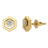 Diamond Earrings Hexagon Shape Studs Bezel Settings 10K Gold (J,SI2-I1) - Yellow Gold