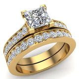 Princess Diamond Cathedral  Accent Engagement Ring Set in 14K Gold (G,SI) - Yellow Gold