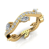 Contemporary Leaf Style Diamond Wedding Ring 0.90 ctw 18K Gold (G,SI) - Yellow Gold