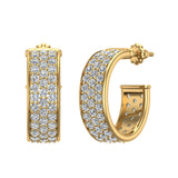 19.41 mm Diameter Three Row Pave Set Diamond Hoop Earrings 3.00 ctw 14K Gold (G,SI) - Yellow Gold