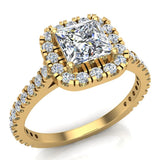 Princess Solitaire Cushion Halo Diamond Engagement Ring 1.30 ctw 18K Gold (G,SI) - Yellow Gold