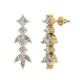 Elegant Stem Leaf Diamond Earrings 14K Gold 3.84 ctw (I,I1) - Yellow Gold